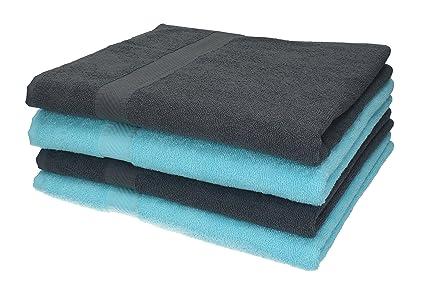 BETZ 4 Unidades Toallas baño/Ducha Serie Palermo Color Gris Antracita y Turquesa tamaño 70x140cm