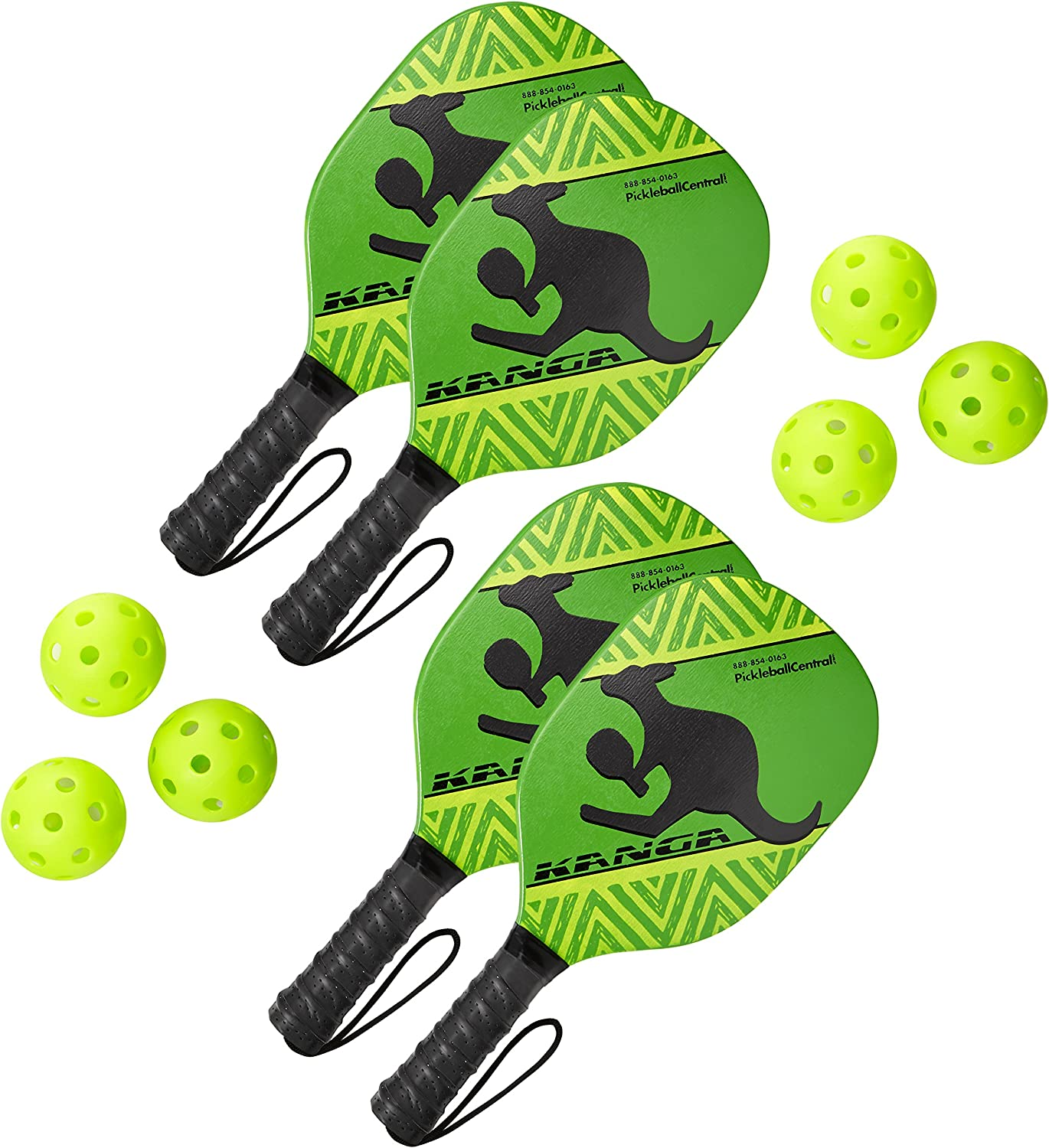 Kanga Beginner Pickleball Paddle Bundle | Set Includes 4 Pickleball Paddles/6 Pickleball Balls | Durable Wood Paddle Construction with Comfort Cushion Grip : Sports & Outdoors