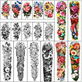 Full Arm Waterproof Temporary Tattoos 8 Sheets and Half Arm Shoulder Tattoo 10 Sheets, Extra Large LastingTattoo Stickers for