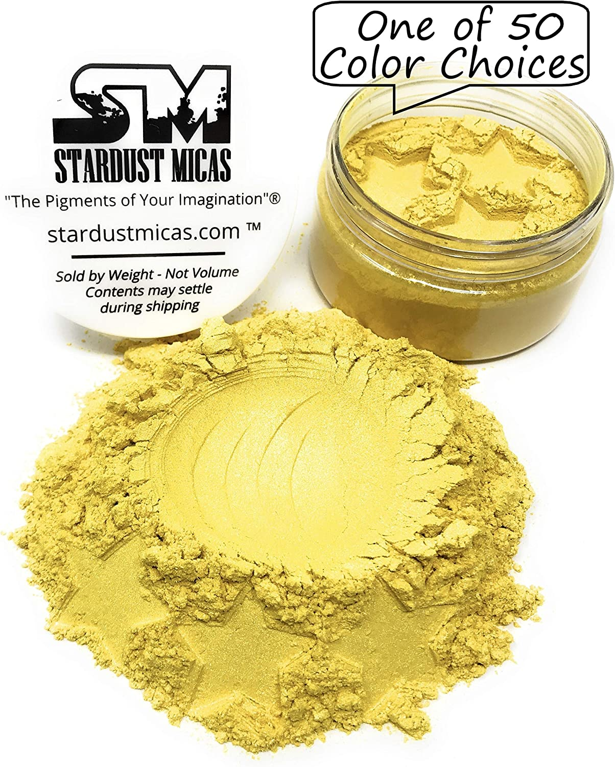 Stardust Mica Powder Pigment Cosmetic Grade Colorant for Makeup, Soap Making, Epoxy Resin, DIY Crafting Projects, Bright True Colors Stable Mica Batch Consistency Yellow Zest