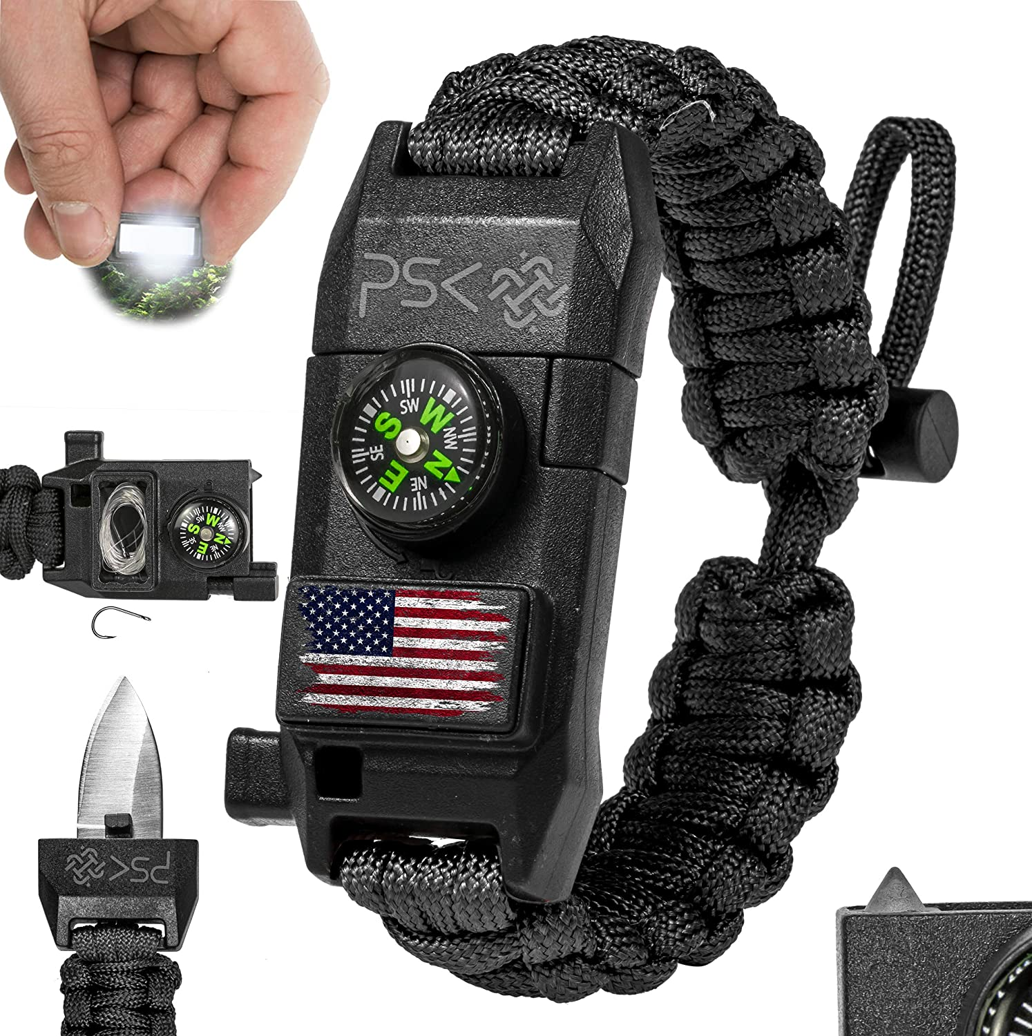 PSK Paracord Knife Bracelet 8-in-1 Personal Survival Kit