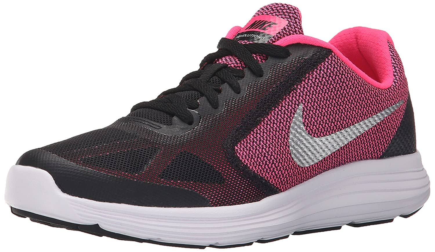 NIKE ' Revolution 3 (GS) Running Shoes B00YQ3YUKI 4 M US Big Kid|Black/Metallic Silver/Hyper Pink/White