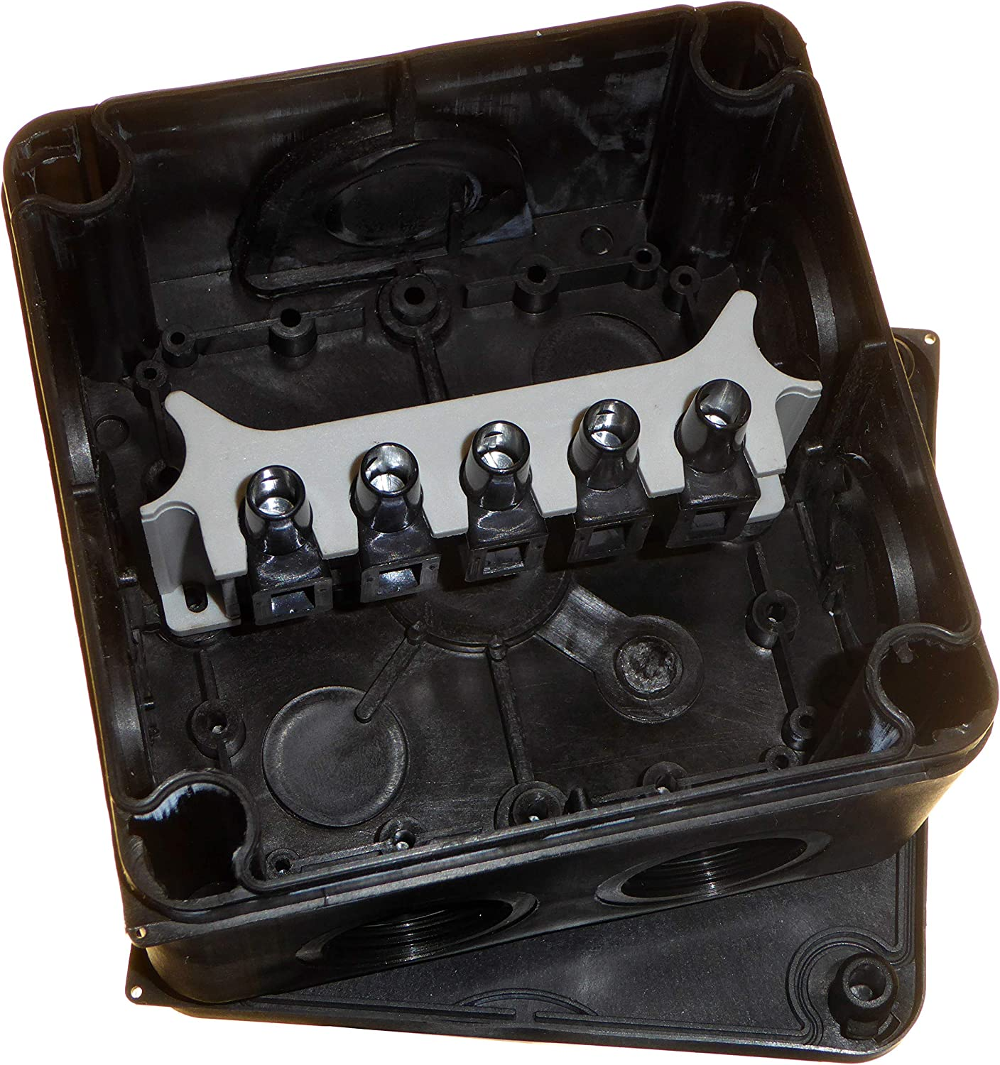 Waterproof Outdoor Junction Box IP66 Black 110mm with Soft Membrane Threaded Knockouts and 5 Way Connector Block 2pk