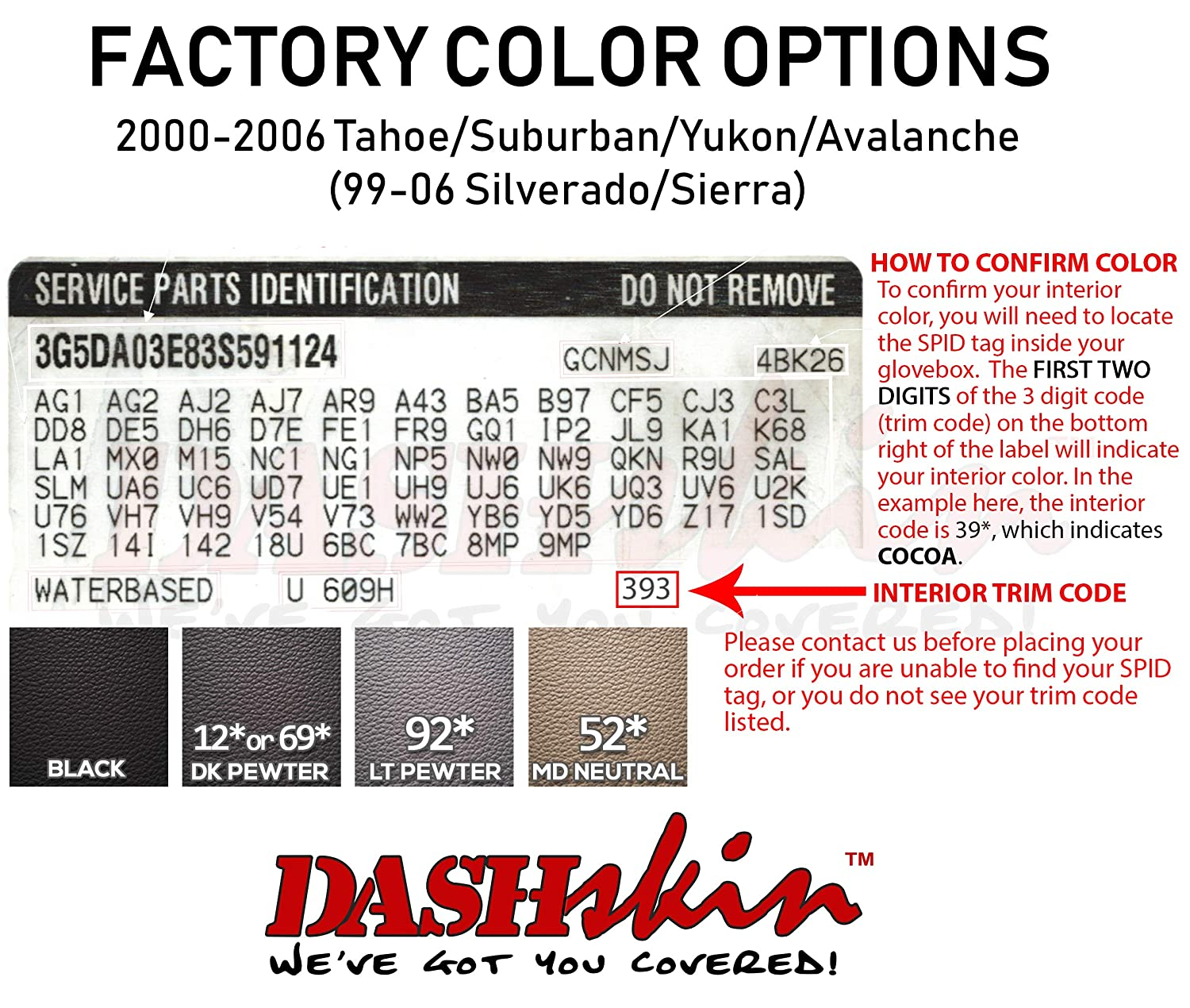 DashSkin Molded Dash Cover Compatible with 00-06 GM SUVs exc Escalade and 99-06 Pickups in Light Pewter Grey