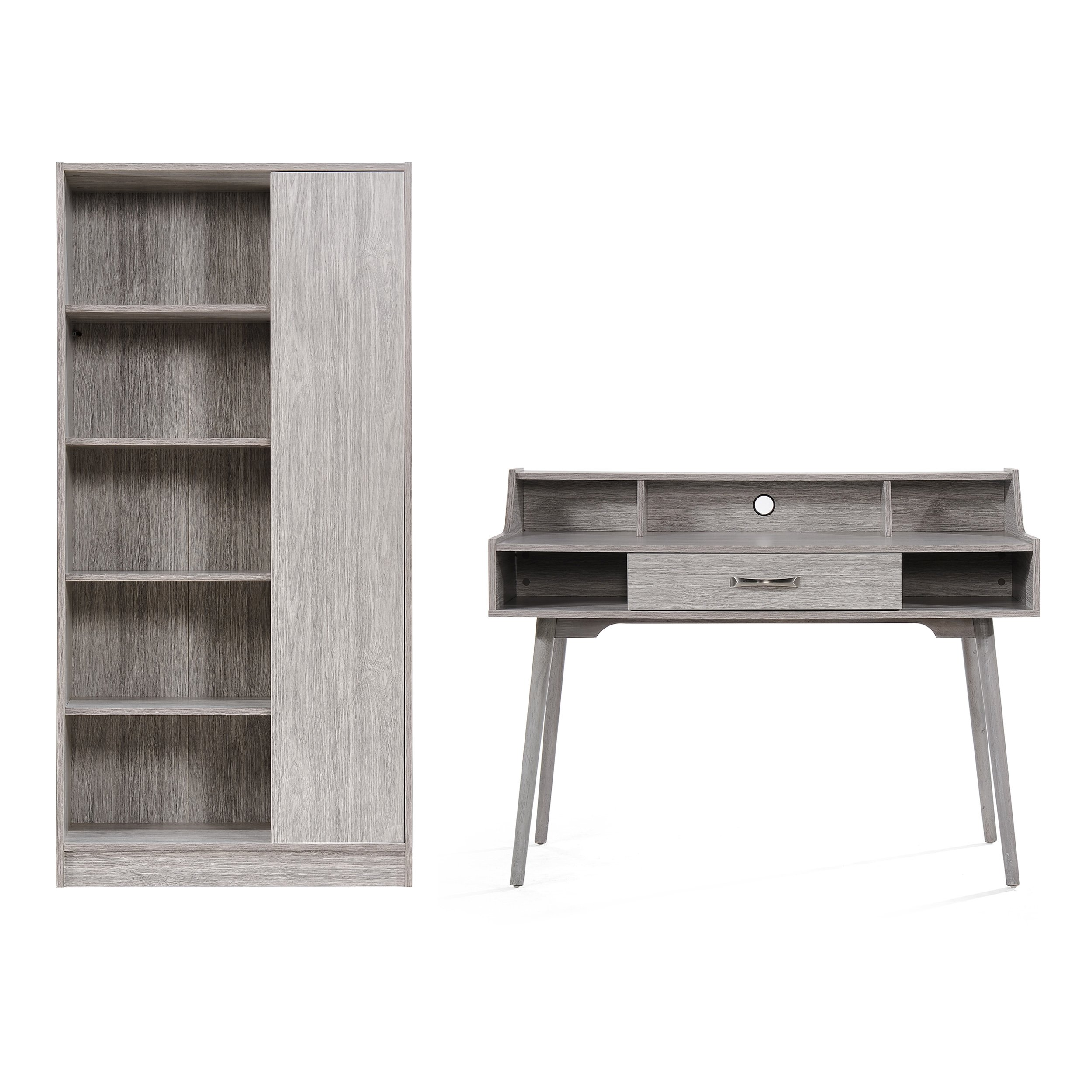 Beatrice Mid Century Modern 2 Piece Grey Oak Finished Faux Wood Home Office Set