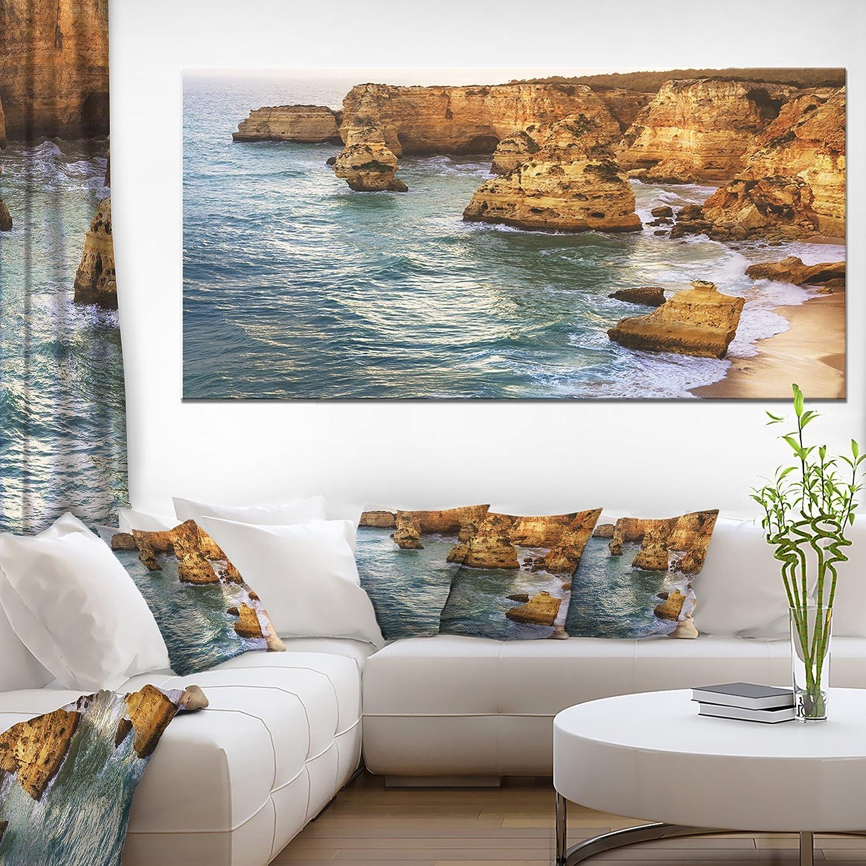 Amazon Com Designart Pt11308 60 28 Golden Rocks And Beach At Algarve Extra Large Seashore Canvas Art 60x28 1 Piece 28 X 60 X 2 Home Kitchen