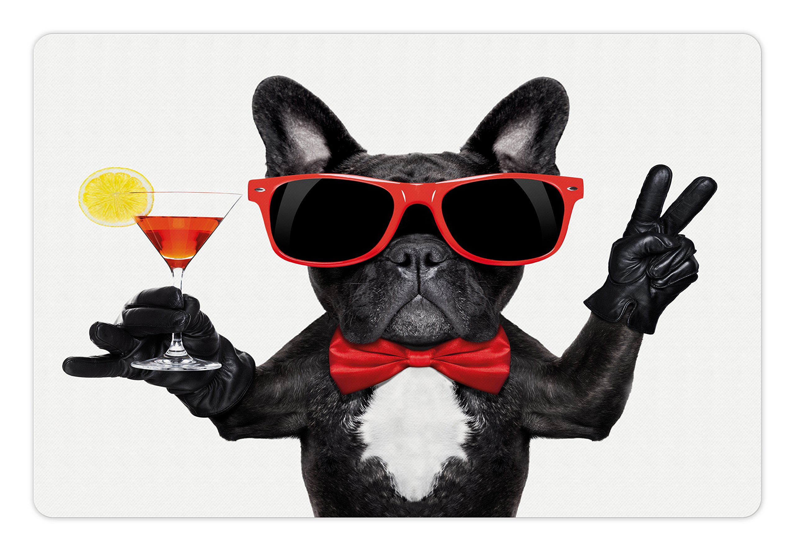 Funny Pet Mats for Food and Water by Lunarable, French Bulldog Holding Martini Cocktail Ready for the Party Nightlife Joy Print, Rectangle Non-Slip Rubber Mat for Dogs and Cats, Black Red White