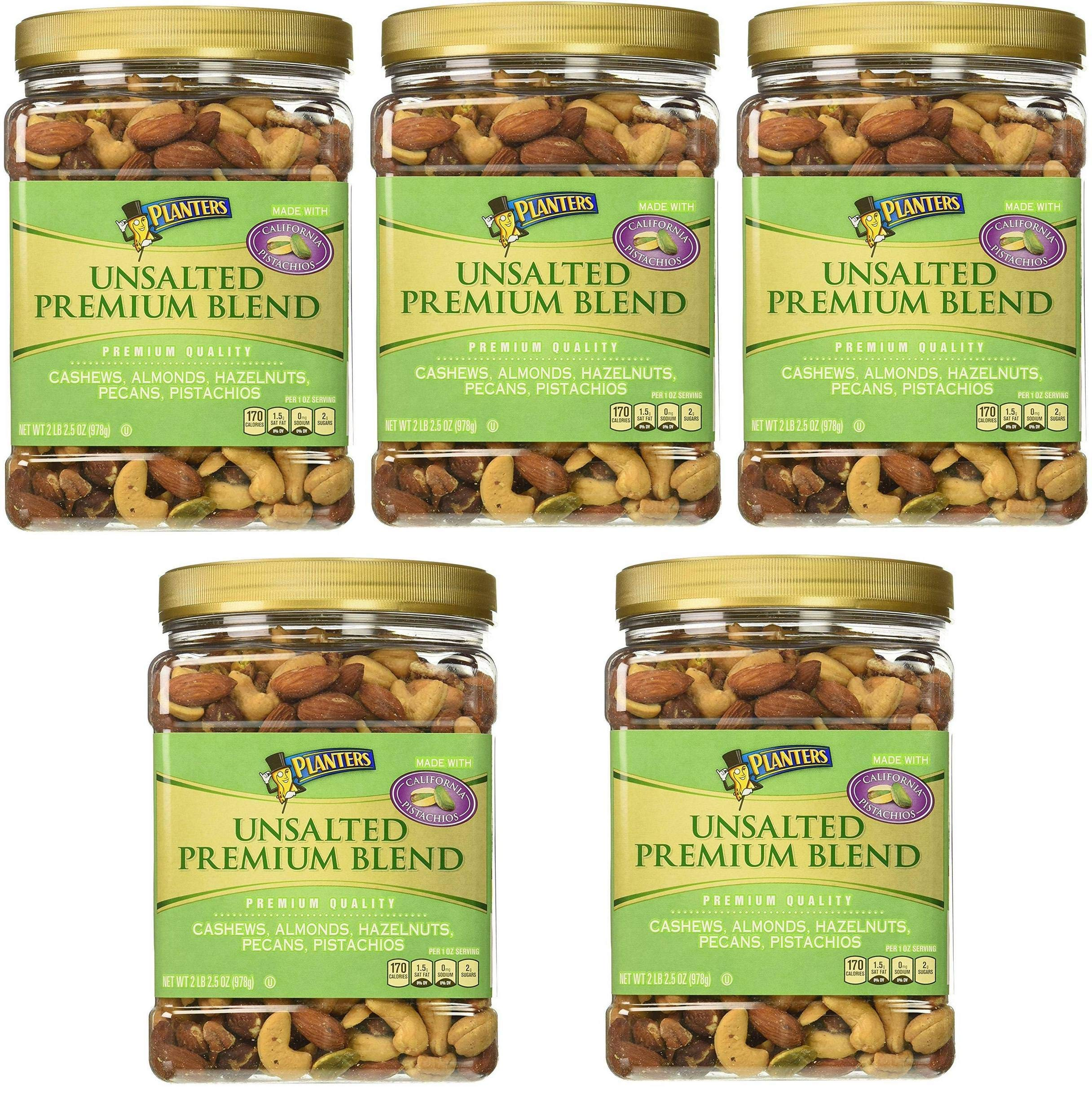 Planters Premium Blend Mixed Nuts, Unsalted, 34.5 Ounce, 5 Tubs