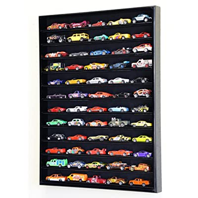 60 Hot Wheels Hotwheels Matchbox 1/64 Scale Diecast Model Cars Display Case - NO Door (Black Wood Finish): Toys & Games