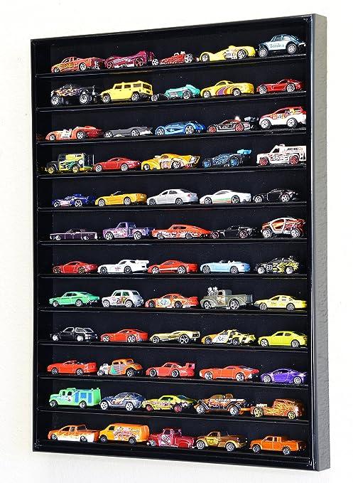 60 Hot Wheels Hotwheels Matchbox 164 Scale Diecast Model Cars Display Case No Door Black Wood Finish