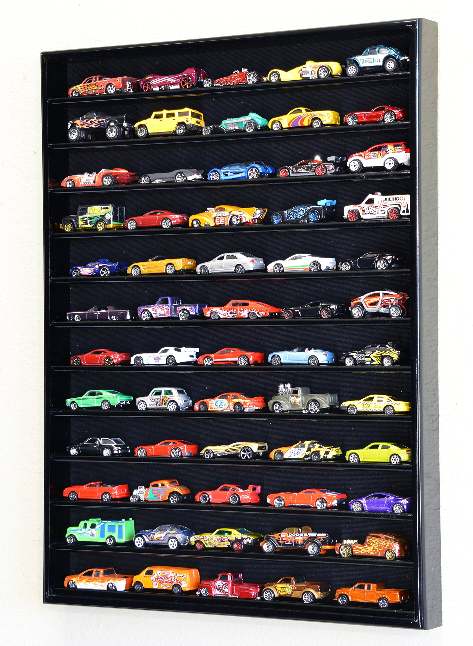 60 Hot Wheels Hotwheels Matchbox 1/64 Scale Diecast Model Cars Display Case - NO Door (Black Wood Finish)