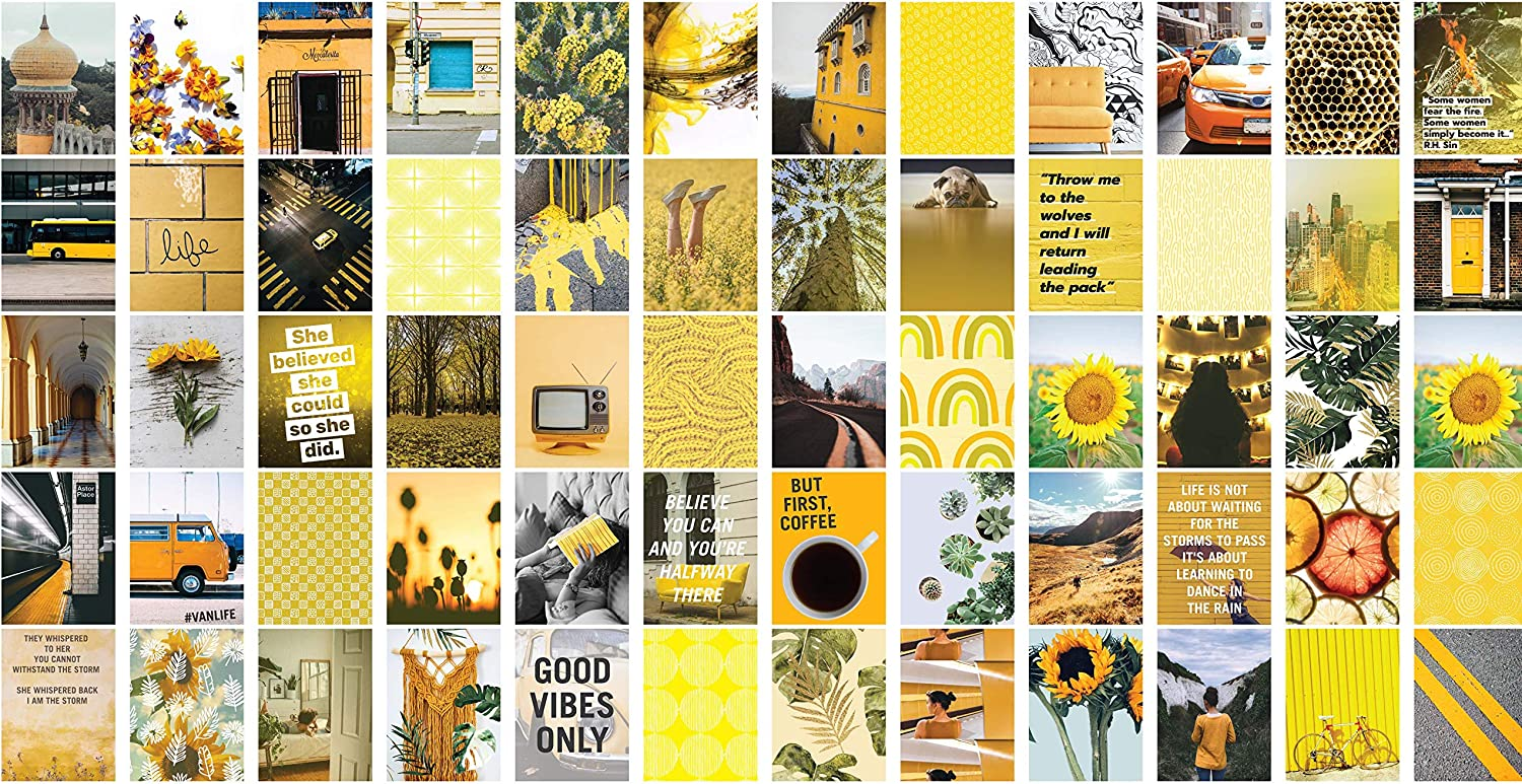 60-Pack Set Yellow Aesthetic Wall Collage Kit. Each Photo / Mini picture print poster is 4x6 inch. Perfect for Girls, Teens, and Young Adults who like VSCO Bedroom Decorations or Boho Dorm Wall Decor.