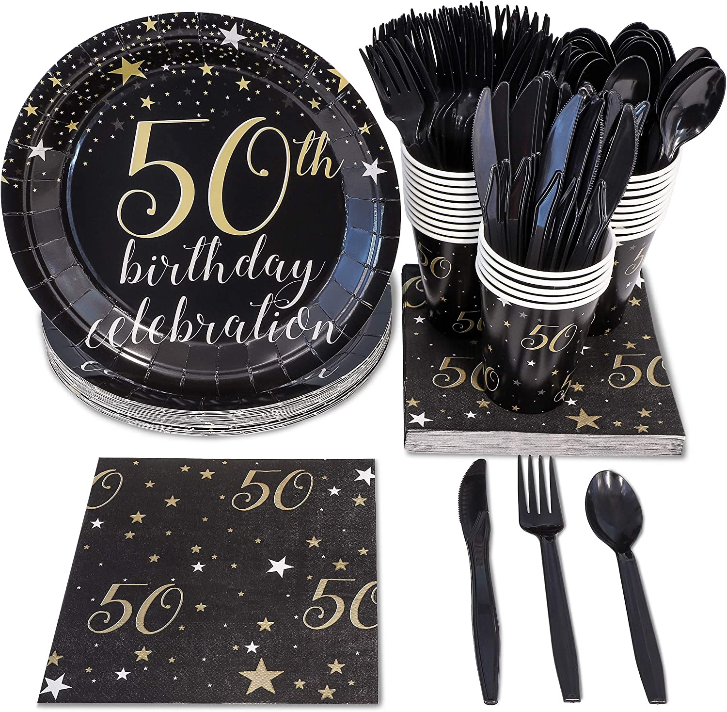 50th Birthday Party Bundle, Includes Plates, Napkins, Cups, and Cutlery (24 Guests,144 Pieces)