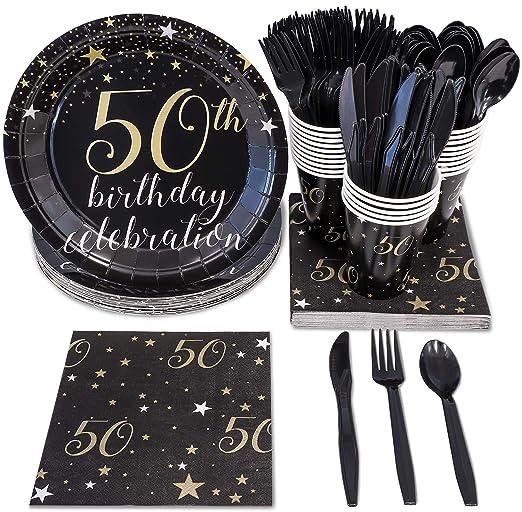 Vajilla desechable – Sirve 24 – 50 cumpleaños Suministros de fiesta – Incluye cuchillos de plástico, cucharas, tenedores, platos de papel, ...