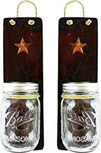 Heartful Home Rustic Wall Sconces Set of 2 - Primitive Country Decor - Candles Holders, Vases, Utensil Caddy, Bathroom Organizer - #1 Housewarming Wedding Shower Gift (Dark Honey)