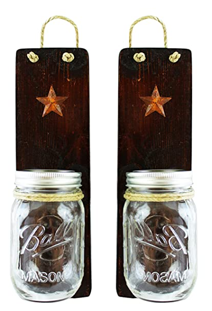 Rustic Wall Sconces Set of 2 - Primitive Country Decor - Candles Holders Vases  sc 1 st  Amazon.com & Amazon.com: Rustic Wall Sconces Set of 2 - Primitive Country Decor ...