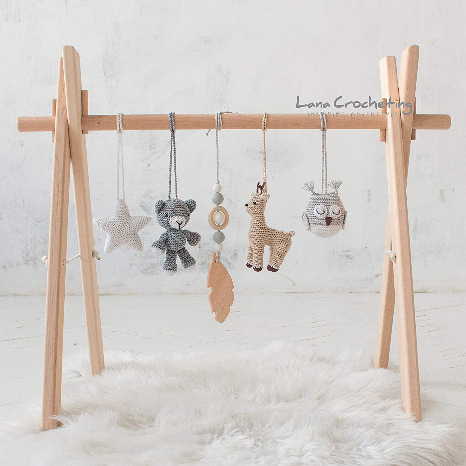 Amazoncom Woodland Wood Baby Gym Frame And Activity Gym With Five
