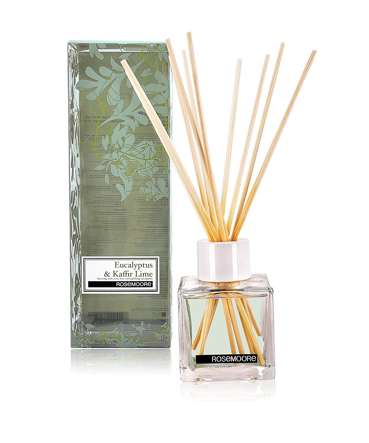 Rosemoore Green Eucalyptus & Kaffir Lime Scented Reed Diffuser For Living Room, Washroom, Bedroom, Office - 200 ml With 10 Reed Sticks