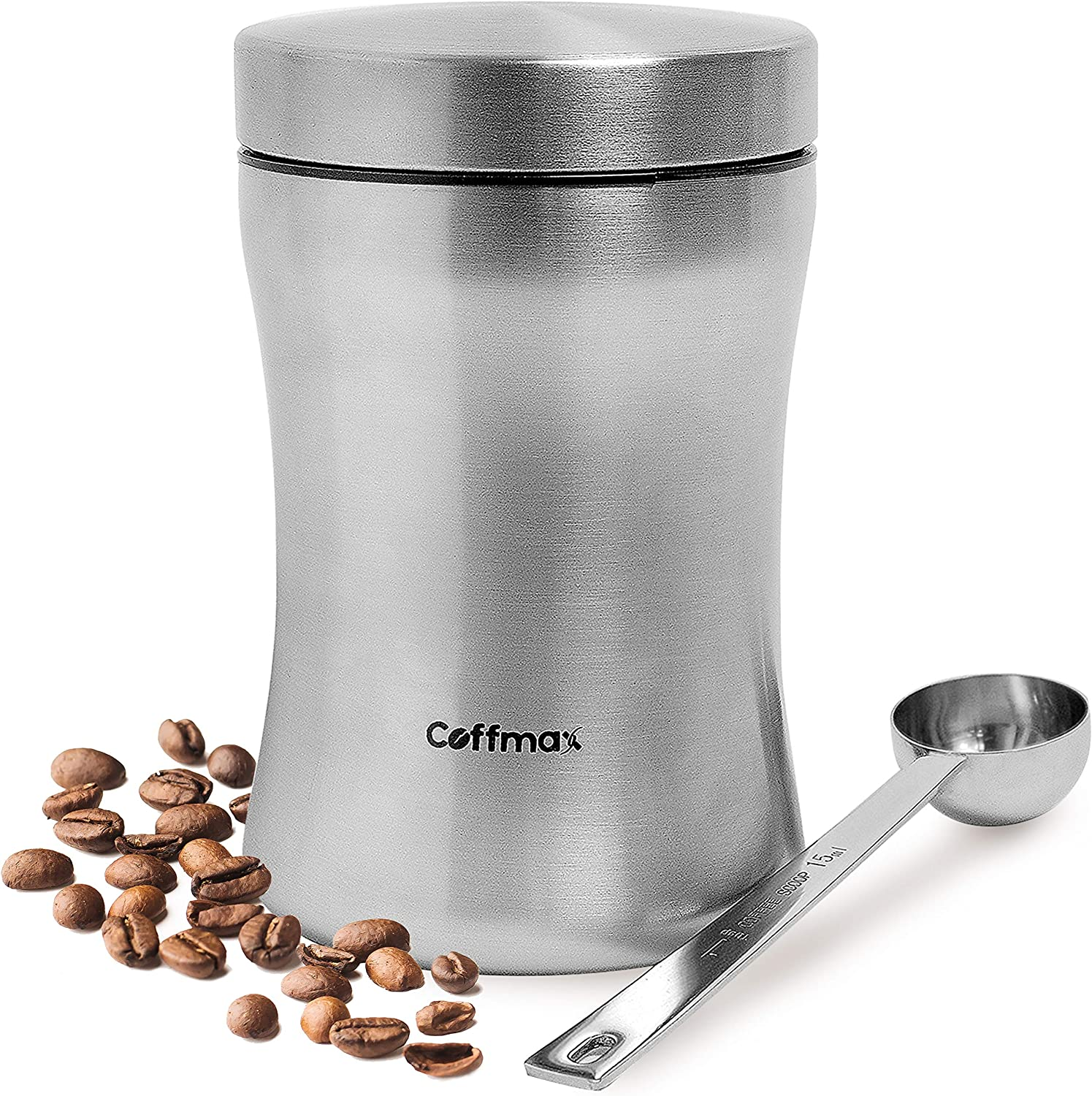 Airtight Coffee Storage Canister Keeper with Free Scoop Spoon and eBook - 12.5 oz Beans or 16 oz Ground Coffee Container Jar Holder - Premium Quality Stainless Steel Vault Tin