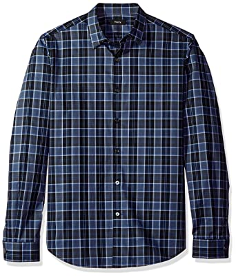 f877e01aa0 Theory Men's Zack Plaid Domingo, Deep Blue/Multi Small
