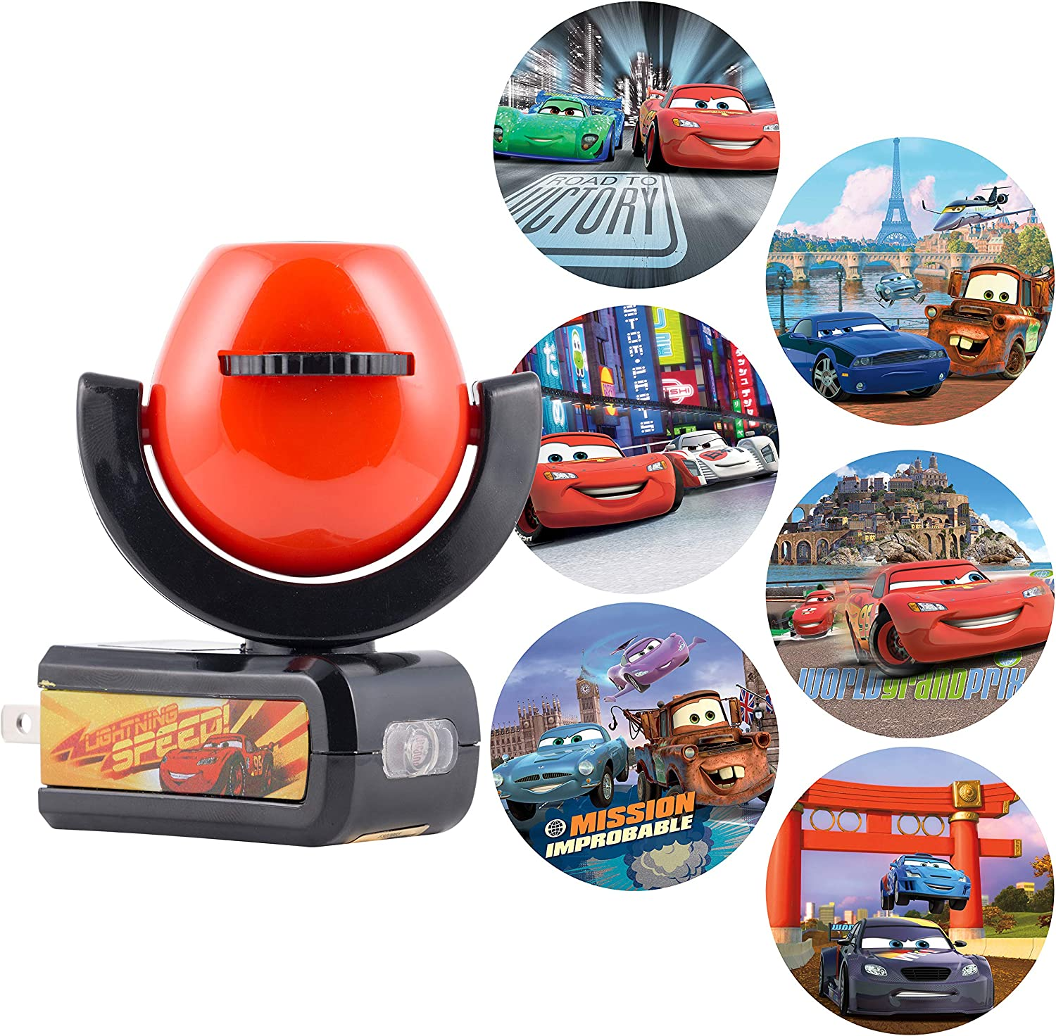 Projectables LED Night Light, Plug-in, Dusk-to-Dawn, for Kids, Lightning McQueen, Mater, Holly on Ceiling, Wall, or Floor, 11740, Cars | 6-Image