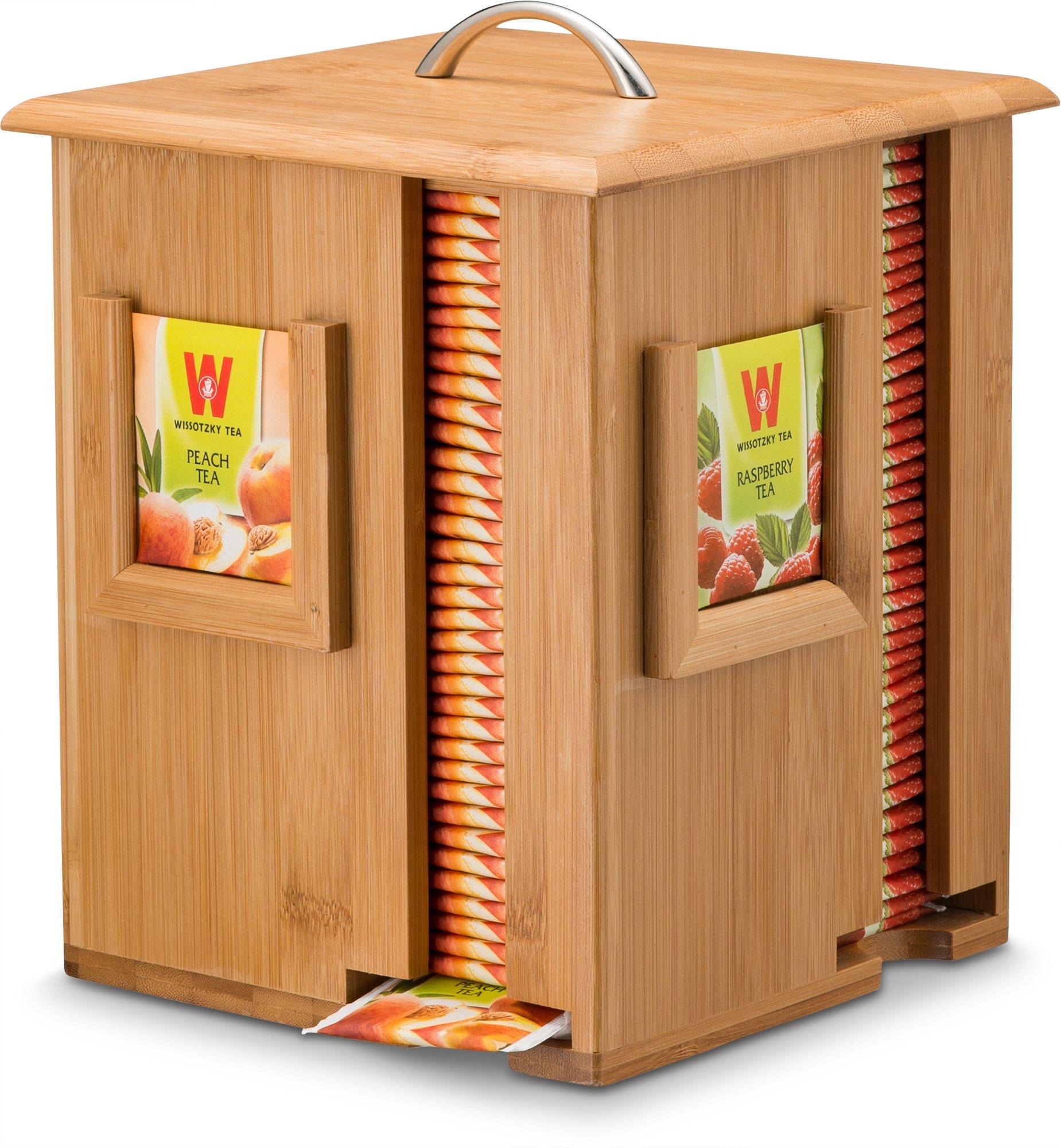 Natural Bamboo Tea Holder Organizer - 4 Storage Sections Rotating Dispenser Wooden Tea Box - Perfect Gift Idea by Bambüsi