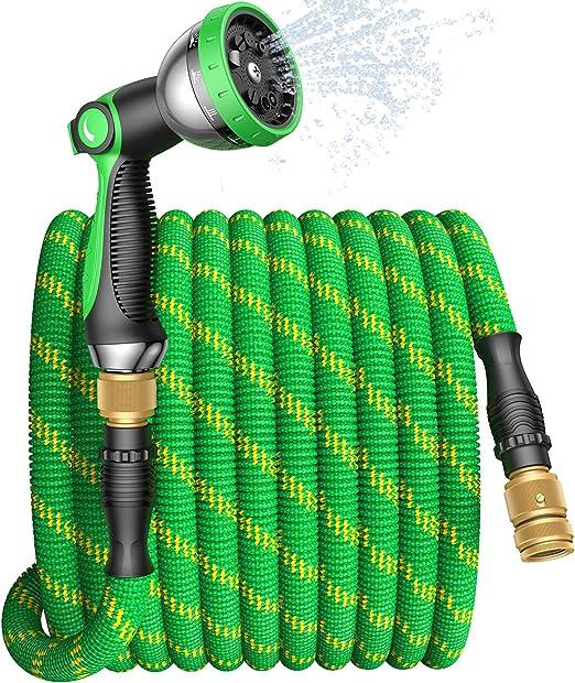 Connessioni in Ottone Massiccio Tenuta Stagna per Irrigazione e Lavare Auto Tubo Estensibile da Giardino 15 Metri,Tubo Acqua Giardino Flessibile con Ugello Spruzzatore Alta Pressione a 10 Funzioni