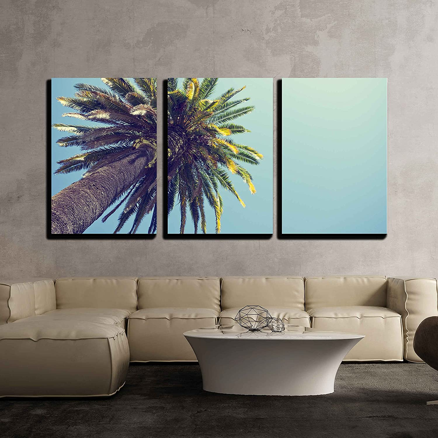 Wall26 3 piece canvas wall art palm tree in retro style orange county california modern home decor stretched and framed ready to hang 16x24x3