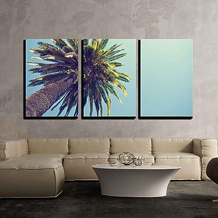 Amazon.com: wall26 - 3 Piece Canvas Wall Art - Palm tree in retro ...