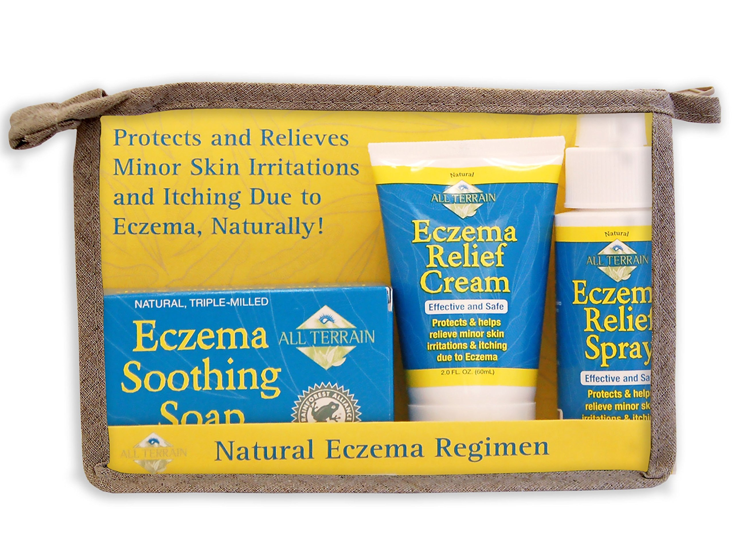 All Terrain Natural Eczema Regimen 3pc, Soothing Soap, Relief Cream & Spray, Safe & Effective Eczema Relief, Contains Natural Ingredients