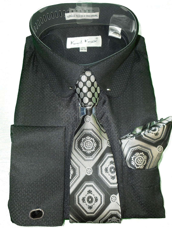 Mens Karl Knox Stone Gray Cuffed Dress Shirt Round Eyelet Collar Bar SX4393