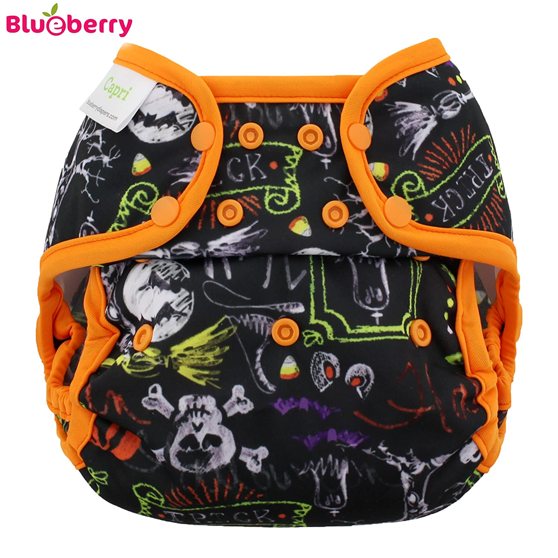 Blueberry Capri cubrepañales–Halloween (druc Grava)–One Size (5,5–16kg)–Plástico pañales pañales a través de pantalones, pantalones, prefolds Adecuado