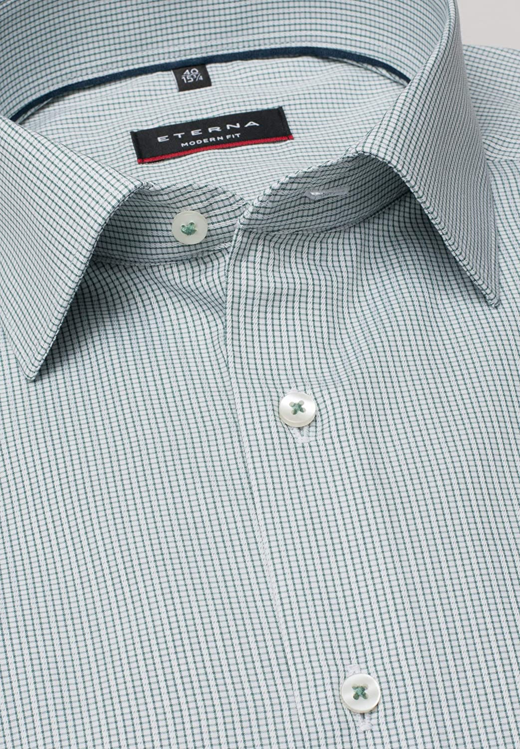 Eterna Long Sleeve Shirt Modern Fit Textured Weave Checked