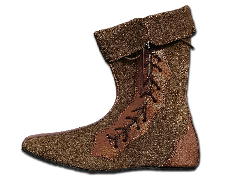 Braun CP-Schuhe Mittelalter Schuhe Halbstiefel aus Rauhleder