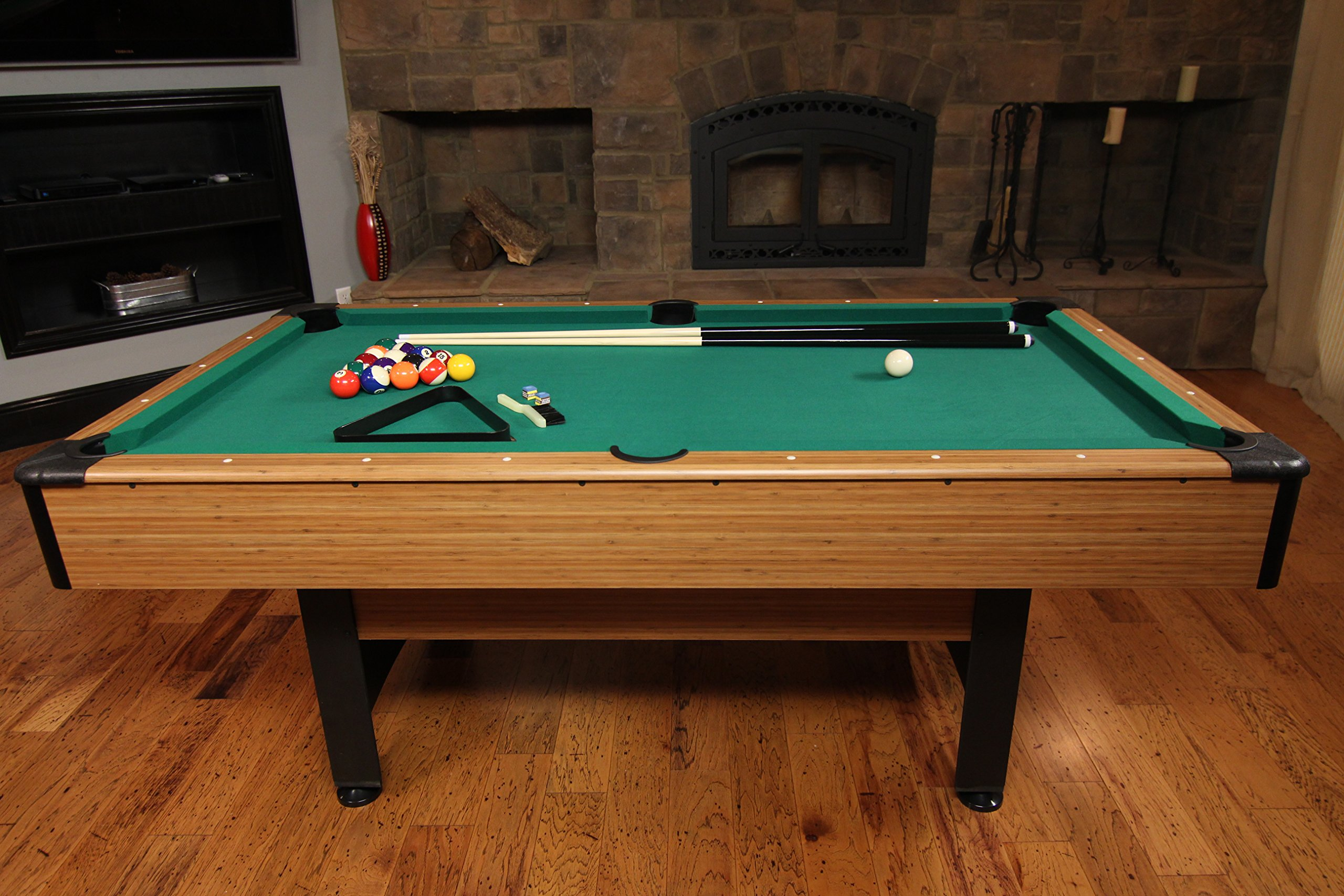 Mizerak Dynasty Space Saver 6.5' Billiard Table with Compact Design to Fit in Smaller Rooms, Leg Levelers for Perfectly Even Playing Surface, Double-sealed MDF Play-bed for Consistent Roll and Automatic Ball Return for Quick Game Reset by Mizerak (Image #3)