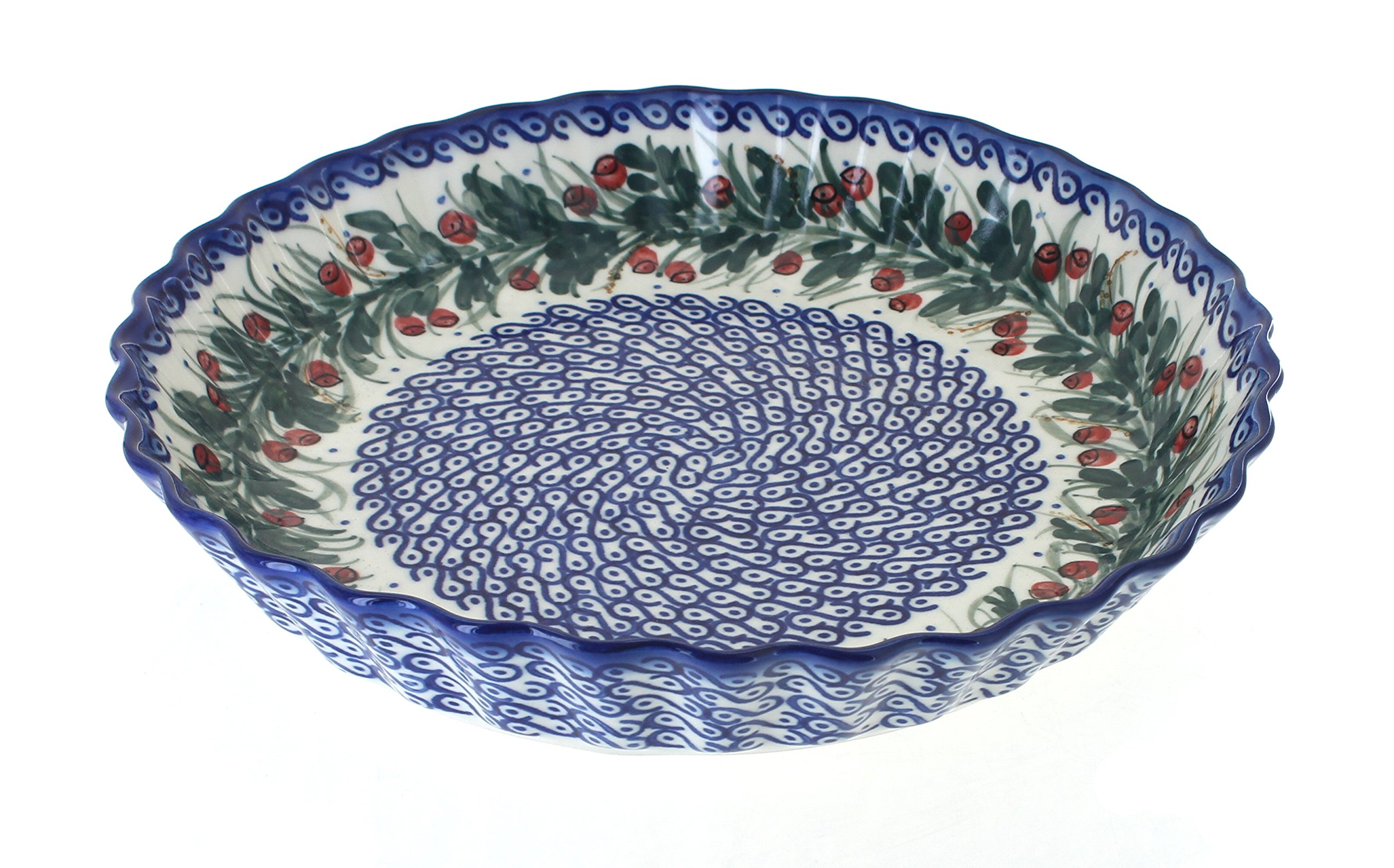 Blue Rose Polish Pottery Berry Pie Plate
