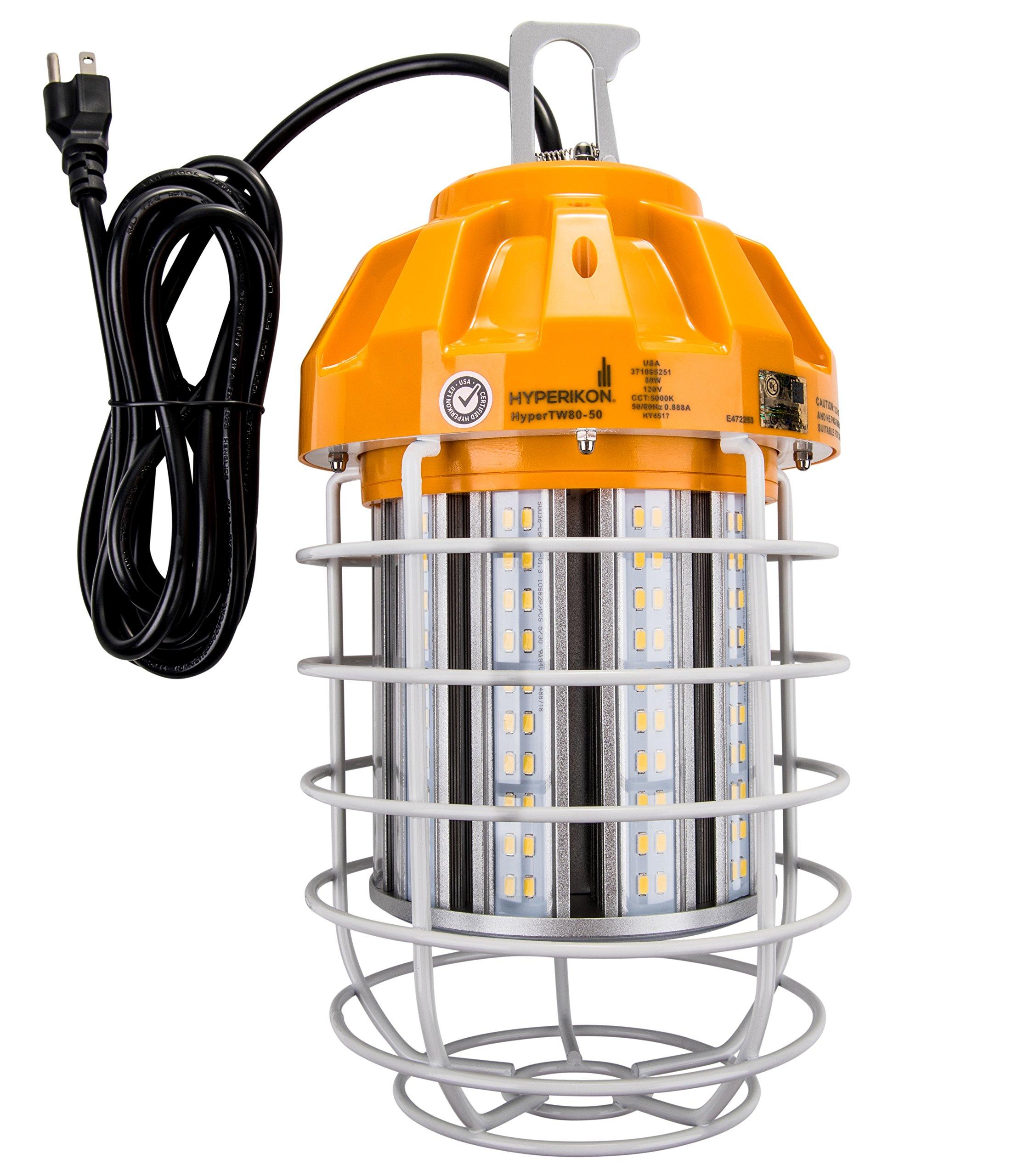 Hyperikon 80W LED Temporary Work Light Fixture, 9600 Lumens, Orange Construction Drop Light, LED High Bay Lighting, UL IP65 Waterproof, 5000K