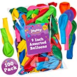 jaunty partyware 100 Premium Quality Balloons 215g Assorted Colour Latex Balloons | Ideal for Party Bag Fillers | FREE Ebook