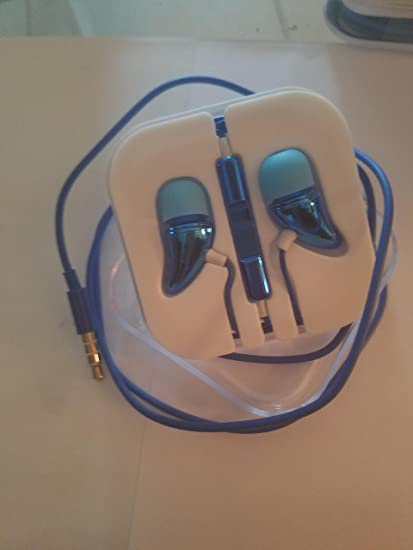BLUE Horn Steel Mesh Earphone Headset With Remote Mic Volume Control.  Universal Headset Compatible With a407521f6b