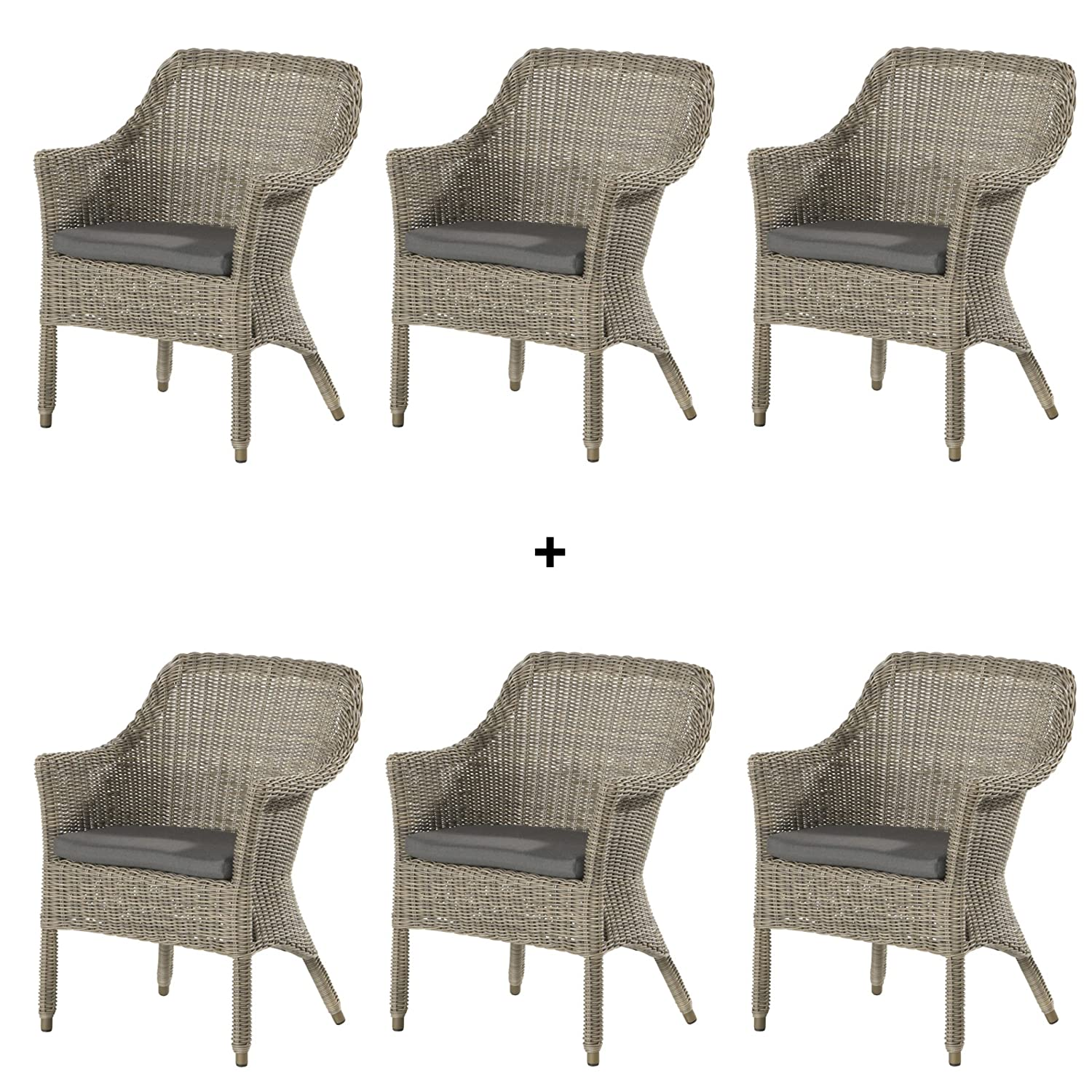 4Seasons Outdoor Galleria 6er Set dining Sessel Polyrattan Pure inkl ...