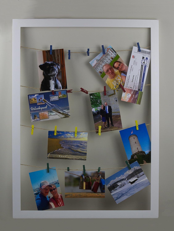 Eris Bilderrahmen Collage Wäscheleine 55x75 cm Farbe Weiss Collagen ...