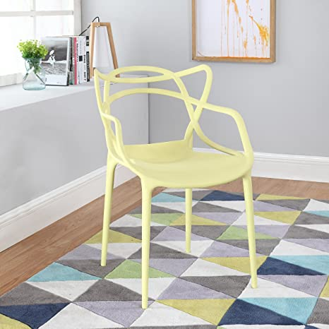 Modern Set Of 2 Hollow Out Abstract Pattern Chair Yellow