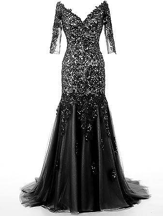 KISSBRIDAL Womens V-neck Black Lace Formal Evening Dresses For Women