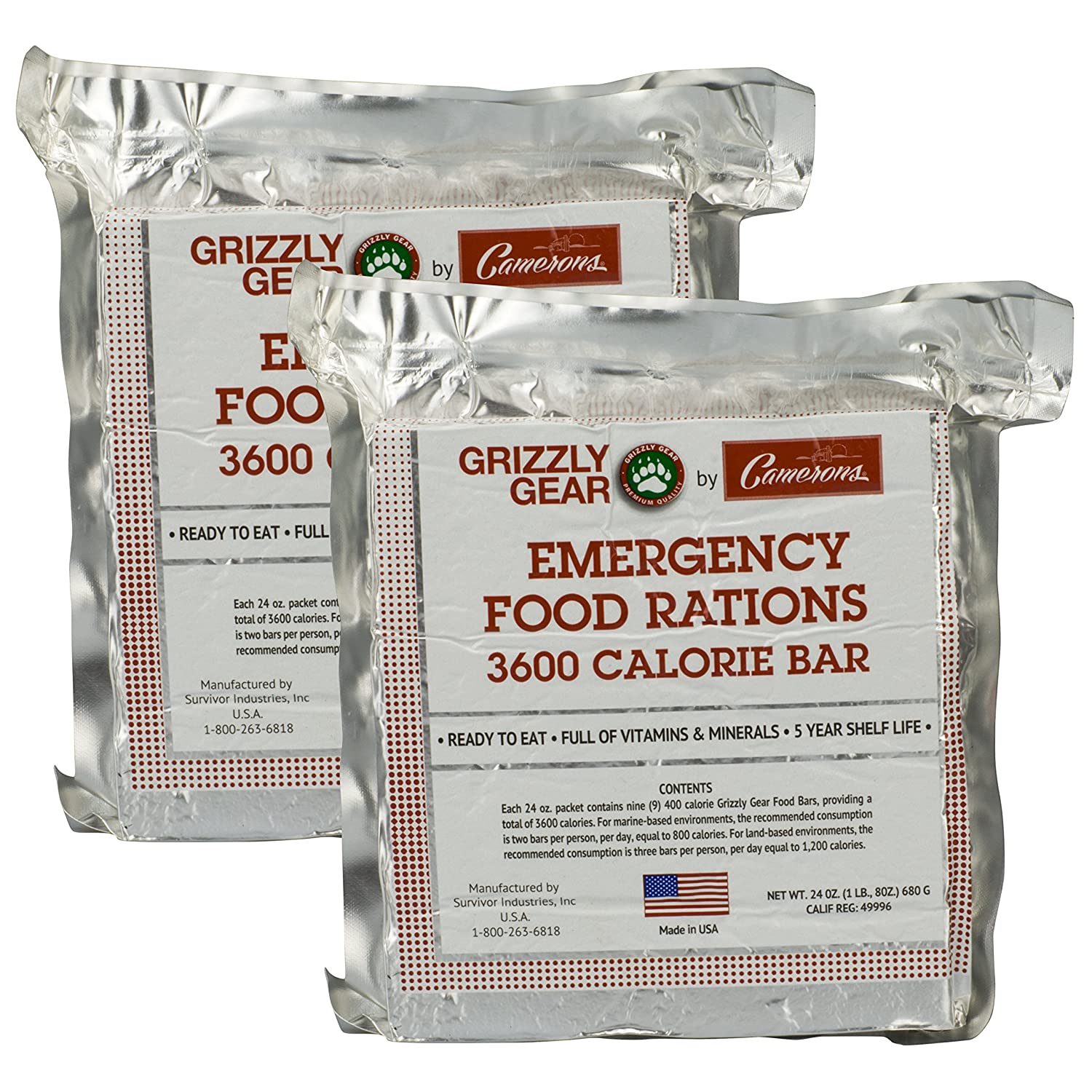 Emergency Food Rations 2 Pack - 3600 Calorie Bar - 6 Day Supply - Less Sugar and More Nutrients Than Other Leading Brands - (5 Year Shelf Life) Grizzly Gear