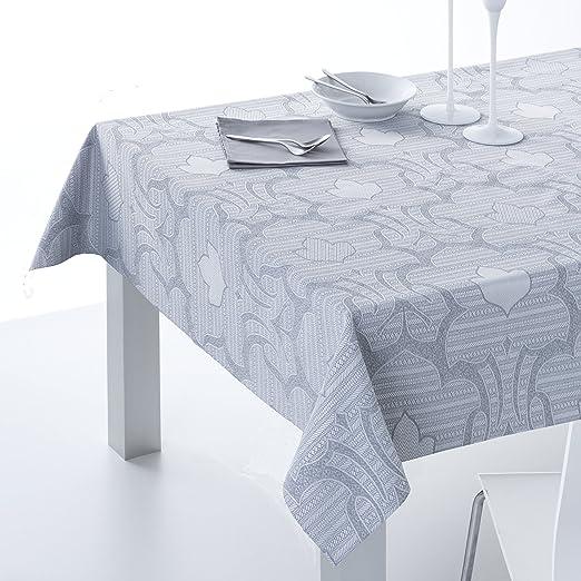 ESTELA - Mantel Jacquard CANGAS Color Gris - 140x300 cm. - Incluye ...