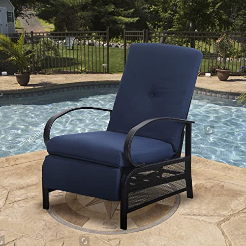 MF STUDIO Patio Recliner Chair Metal Adjustable Back Outdoor Lounge Chair with 100 Olefin Cushion Navy Blue