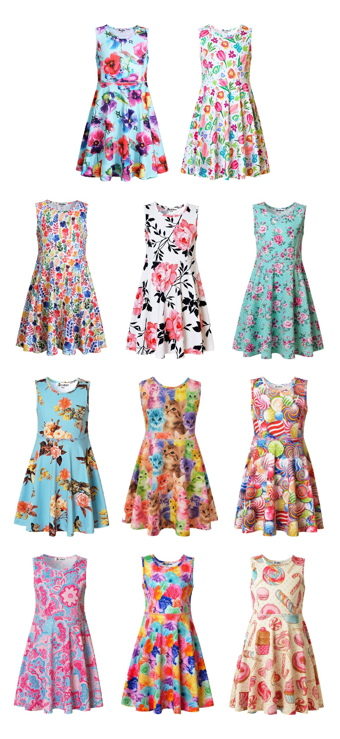 Jxstar Girl Casual Dress Flower Summer Floral Printed Sleeveless Holiday Little by Jxstar (Image #5)