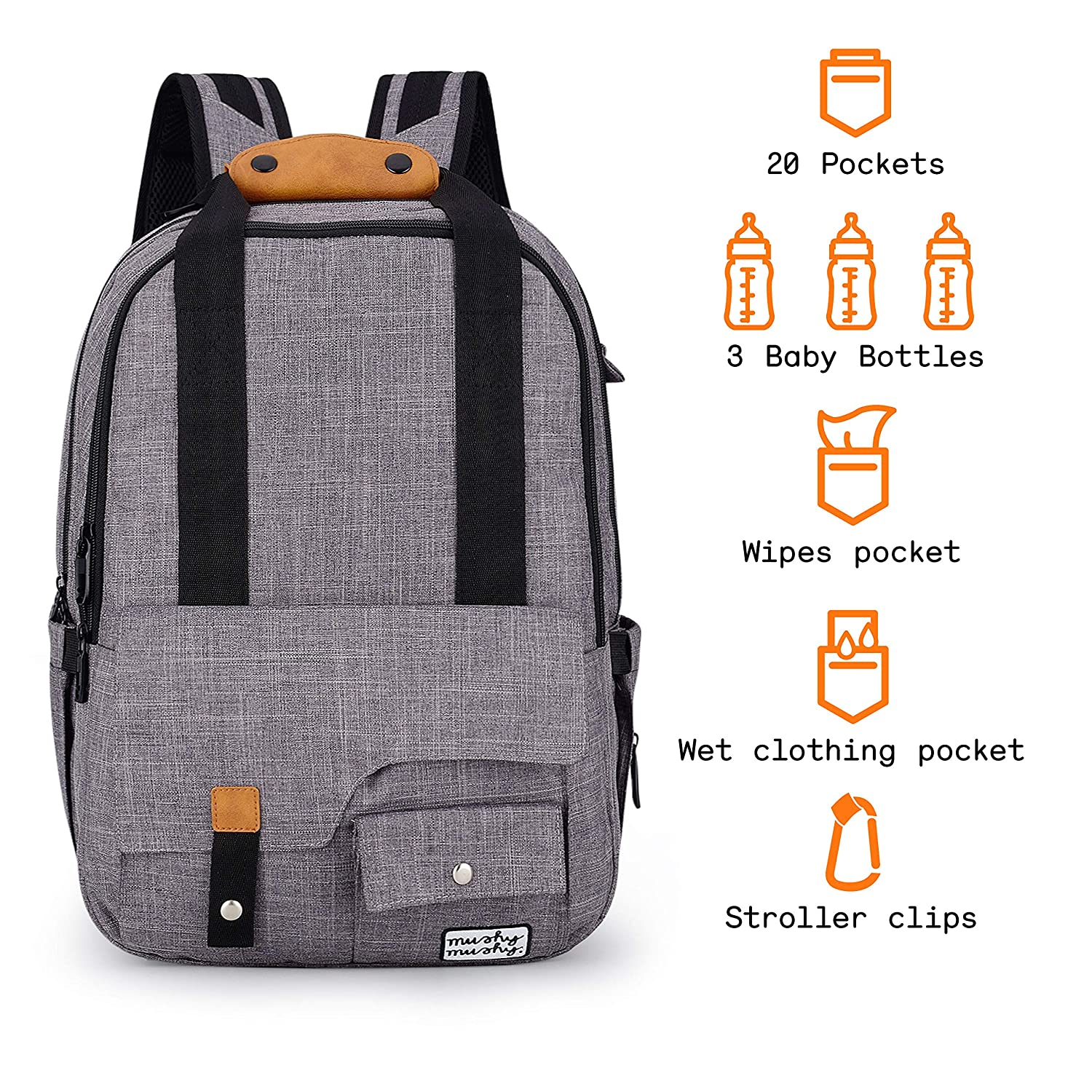 0de751fa51d2 Baby Changing Bag Backpack by Mushy Mushy - The Stylish Baby Bag for ...