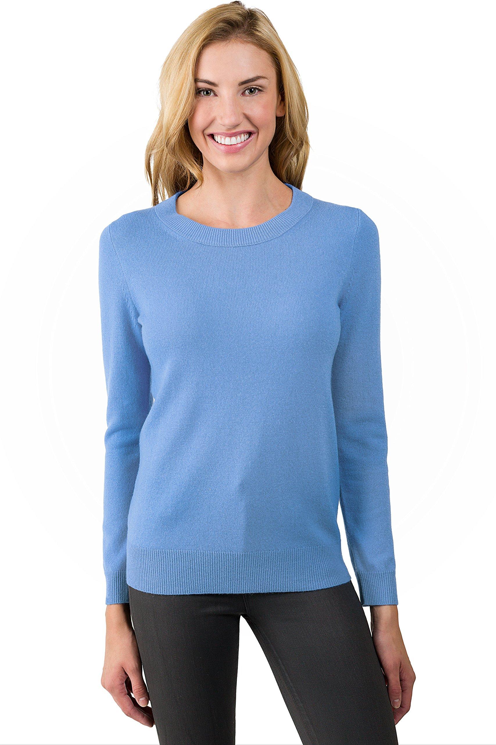 JENNIE LIU Women's 100% Pure Cashmere Long Sleeve Crew Neck Sweater(M, CrystalBlue)