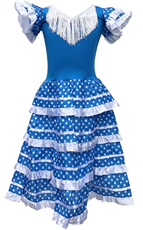 La Senorita Vestido Flamenco Español Traje de Flamenca chica/niños azul blanco (Talla 4, 92-98 - 65 cm, 3/4 años, azul)